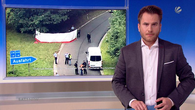 Unfall auf der A544 bei Würselen (Foto: SAT.1 NRW)
