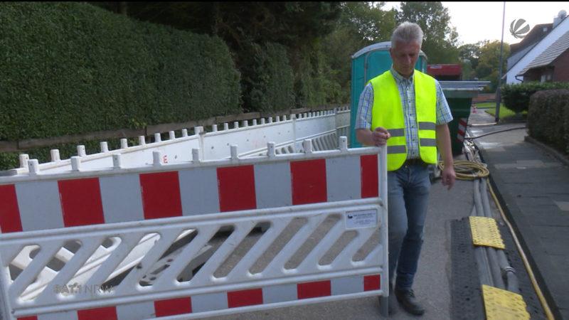A40: Security-Männer bewachen Vollsperrung (Foto: SAT.1 NRW)