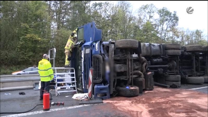 Unfall auf A33 (Foto: SAT.1 NRW)