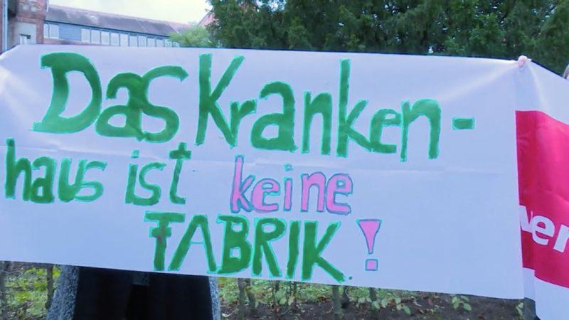 Uniklinik Düsseldorf: Belegschaft im 48-Stunden-Streik (Foto: SAT.1 NRW)