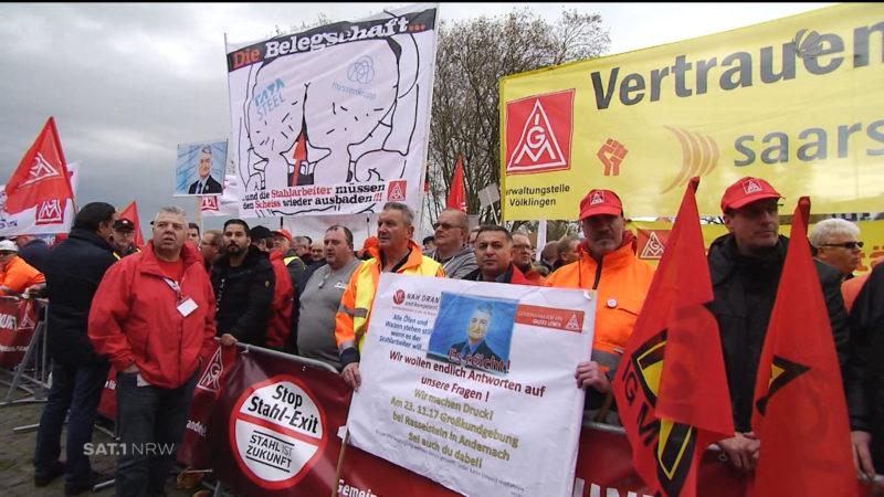 Demo der Beschäftigten von Thyssenkrupp (Foto: SAT.1 NRW)