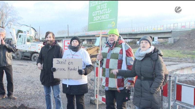 Leverkusener Rheinbrücke: Proteste bei Spatenstich (Foto: SAT.1 NRW)