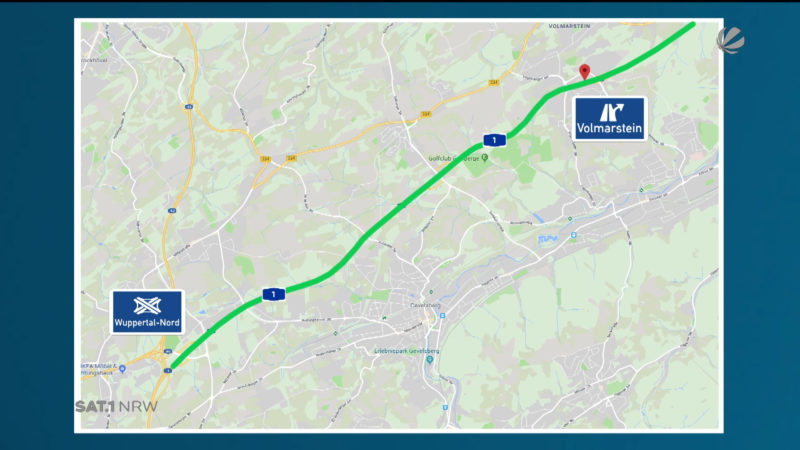 Hagen: Sperrung der A1-Auffahrt (Foto: SAT.1 NRW)