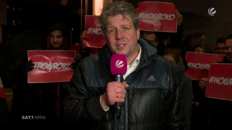 Düsseldorf: Jusos rufen zur Demo gegen Groko auf (Foto: SAT.1 NRW)