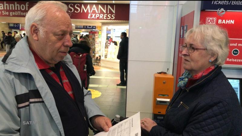 Rentner-Ehepaar wegen Sturmtief gestrandet (Foto: SAT.1 NRW)