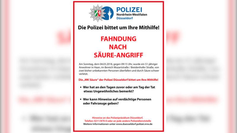 Polizei sucht Säure-Täter (Foto: SAT.1 NRW)