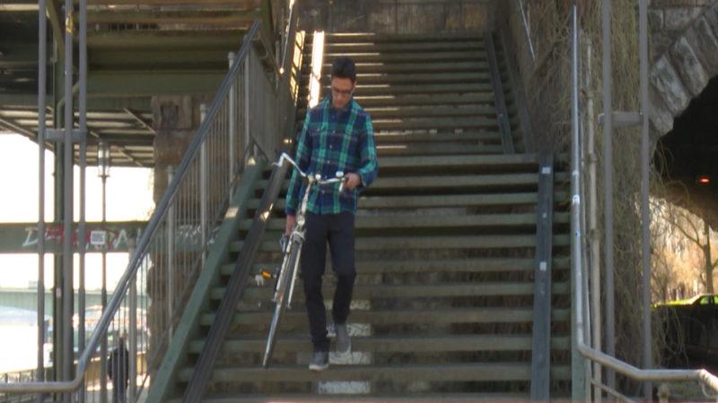 Köln: Fahrradrampe (Foto: SAT.1 NRW)