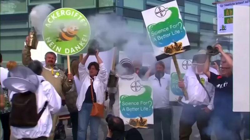 Protest gegen BAYER (Foto: SAT.1 NRW)