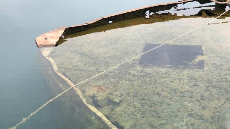 Schiffswrack im Escher See (Foto: SAT.1 NRW)