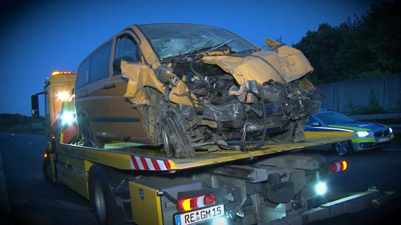 Unfall auf A2 - Sieben Verletzte (Foto: SAT.1 NRW)