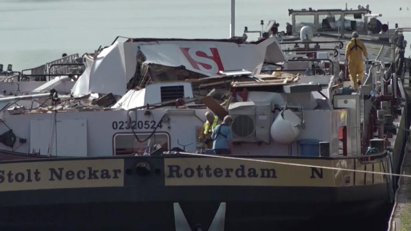 Steuerhaus des Tankschiffs komplett abgerissen (Foto: SAT.1 NRW)