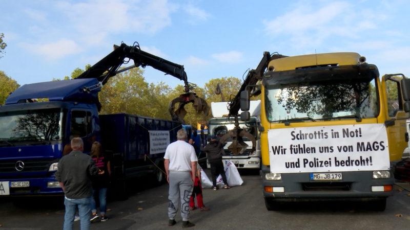 Schrotthändler demonstrieren (Foto: SAT.1 NRW)