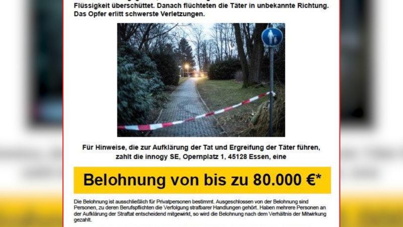 Säureanschlag: 80 000€ Belohnung für Hinweise (Foto: SAT.1 NRW)