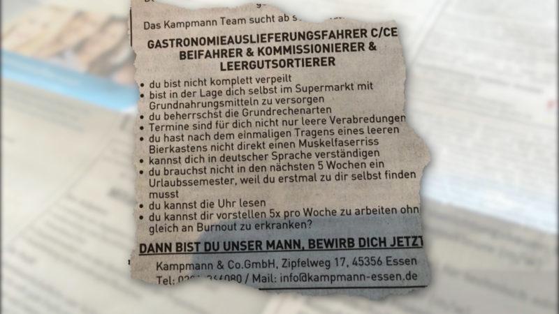 Kuriose Stellenanzeige (Foto: SAT.1 NRW)
