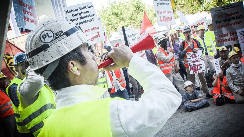 Bergleute demonstrieren (Foto: SAT.1 NRW)