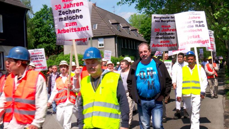 Bergleute demonstrieren gegen Kündigungen (Foto: SAT.1 NRW)