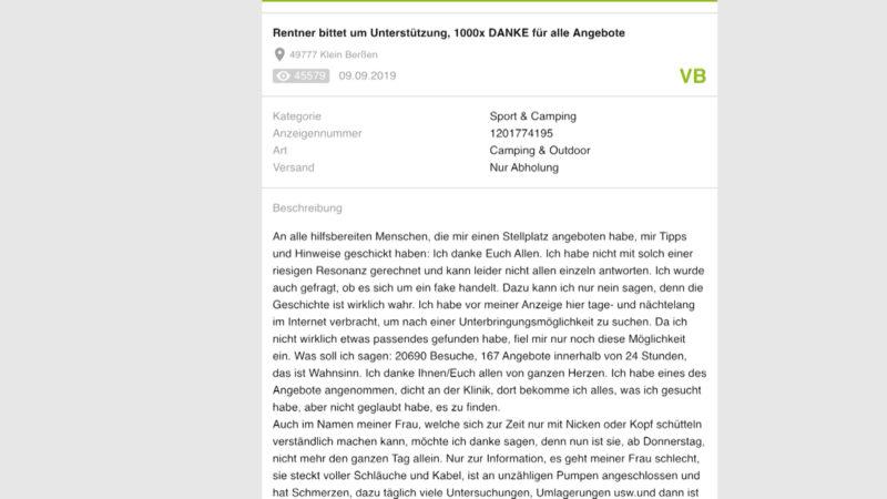 Rentner schaltet rührende Kleinanzeige (Foto: SAT.1 NRW)