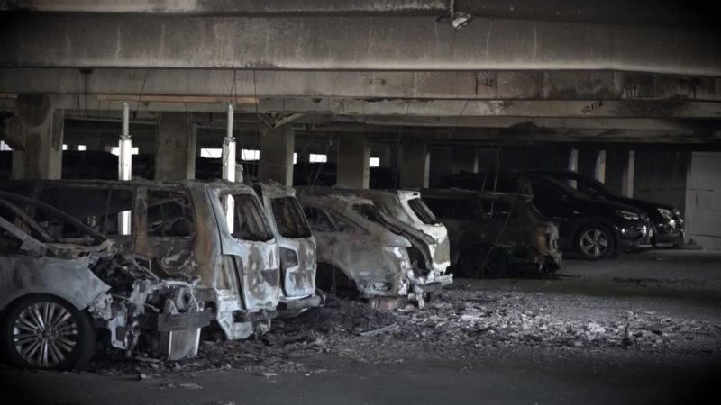 Parkhausbrand am Flughafen (Foto: SAT.1 NRW)