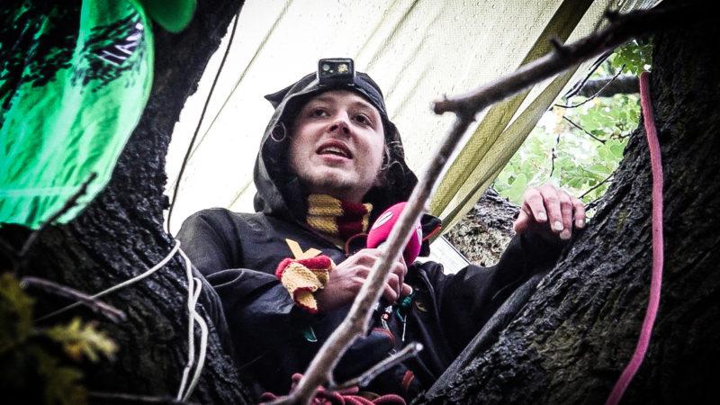 Baum-Besetzer studiert Jura im Baum (Foto: SAT.1 NRW)