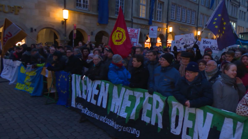 Demo gegen AfD-Empfang (Foto: SAT.1 NRW)