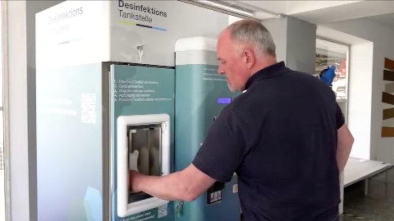 Tankstelle für Desinfektionsmittel (Foto: SAT.1 NRW)