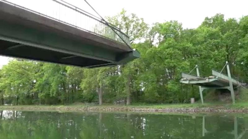 Brücke eingestürzt über Dortmund-Ems-Kanal (Foto: SAT.1 NRW)