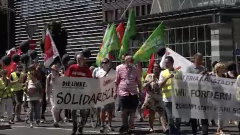 Demo von Karstadt-Mitarbeitern in Dortmund (Foto: SAT.1 NRW)