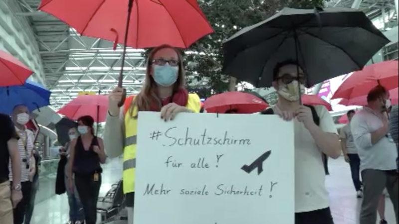 Lufthansa-Demo (Foto: SAT.1 NRW)