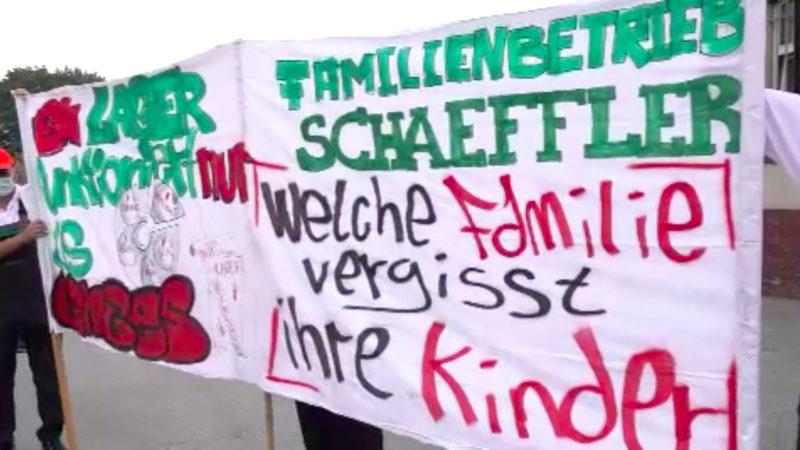 Schäffler-Mitarbeiter demonstrieren gegen Entlassungen (Foto: SAT.1 NRW)