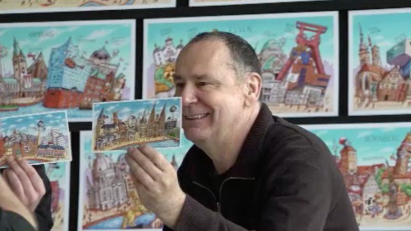 Städte-Postkarten von Jacques Tilly (Foto: SAT.1 NRW)