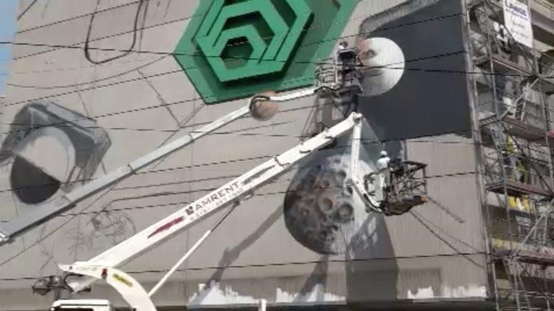 3D-Kunst am Seidenweberhaus (Foto: SAT.1 NRW)